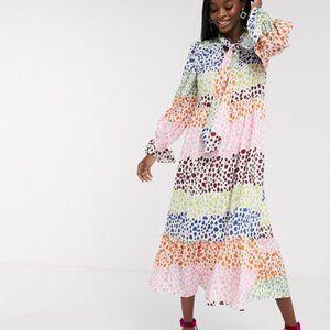 ASOS x Never Fully Dressed Polka Dot Trapeze Dress